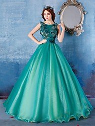 Formal Evening Dress Ball Gown Scoop Floor-length Satin / Tulle with Flower(s)
