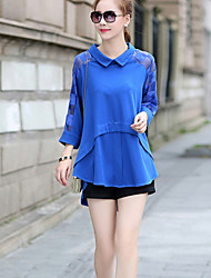 Women's Shirt Collar Blouse , Chiffon Long Sleeve