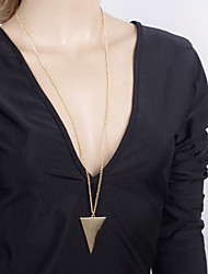 Women's Simple and Stylish Geometric Triangle Pattern Long Sweater Necklace