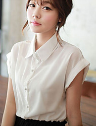 Women's Bud silk dress shirt splicing blouse, short sleeve T-shirt
