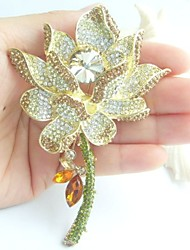 Gorgeous 4.13 Inch Gold-tone Topaz Rhinestone Crystal Water Lily Brooch Art Deco