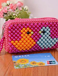 A Double Pull Pearl Cute Cartoon Multi-Function Bag Change Purse Key Bag Random Color