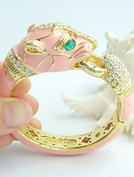 Unique Leopard Bracelet Bangle With Clear Rhinestone Crystals