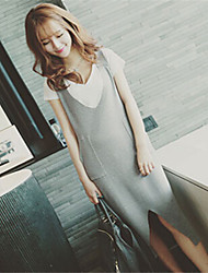 Women's Solid Gray Dress , Casual Short Sleeve