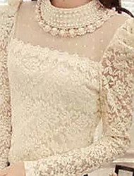 Women's Round Neck Blouse , Lace Long Sleeve