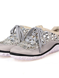 Women's Shoes Silk Low Heel Round Toe Fashion Sneakers Casual Black/Silver/Gray
