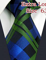 """UXL19 Shlax&Wing Checkered Blue Green Mens Necktie Silk Ties Business Dress 63"""" Long"""