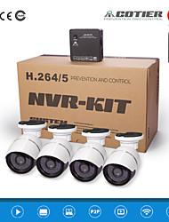 cotier®4ch kits NVR p2p nuage NVR 720p / 960p / 1080p / H.264 / imperméable / HD / balle Caméra IP N4B-mini