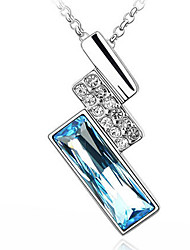 Haofeng Women's Korean-style High Quality Simple Cute Mosaic Zircon Silver-plated Pendant Necklace