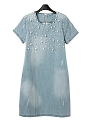 Women's Casual/Daily Dress,Solid Round Neck Above Knee Short Sleeve Blue Summer Micro-elastic Medium