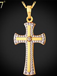 U7® Unisex Cross Jewelry Platinum/Gold Plated Rhinestone Necklace for Women Two-tone Gold Plated Cross Necklace Pendant