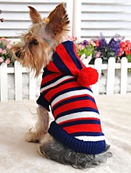 Dog / Cat Sweater / Hoodie Red / Yellow Winter Stripe Wedding / Cosplay