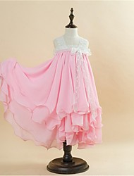 Ball Gown Tea-length Flower Girl Dress - Lace / Satin / Velvet Chiffon Sleeveless Straps with