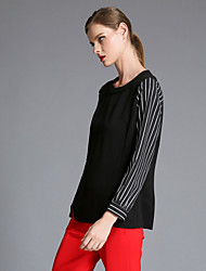 Fashion coat big yards/Early autumn new easing high-end stripe printed tops t-shirts Blouse , Cotton Long Sleeve