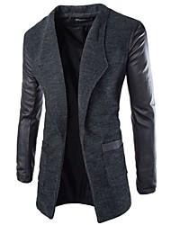 Men's Long Sleeve Long Coat , Cotton Blend/Wool Blend Pure