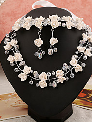 2015 Bride wedding wedding dress accessories necklace earrings three-piece flower crystal tiaraBY-SET0005