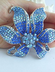 Gorgeous 3.74 Inch Silver-tone Blue Rhinestone Crystal Orchid Flower Brooch Pendant