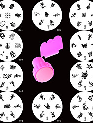 10PCS Stamping Nail Art Plate Round Image Plate + Stamper& Scraper