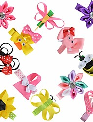 12 Pcs Hair Bows Animal Kanzashi Loop Grossgrain Ribbon Flower Headwear Hair Clips Boutique Hairbows Accessories AC007
