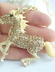 Unique Yellow Enamel Topaz Rhinestone Crystal Horse KeyChain Pendant
