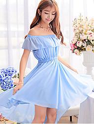 Women's Bateau  , Chiffon Knee-length Sleeveless,Dress
