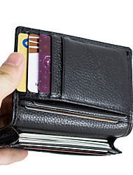Men's Cowhide Genuine Leather Business Credit ID Card Holder