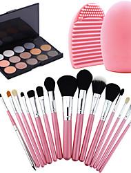 15Pcs Pro Cosmetic Make Up Brush Set Lipbrush Superior Soft+15 Colors Eyeshadow Warm Nude Shimmer + Washing Brush Clean