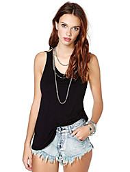 Women's Vintage Sexy Casual Print Cute Sleeveless Vest , Cotton Black