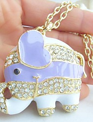 Lovely Elephant Necklace Pendant With Clear Rhinestone Crystals