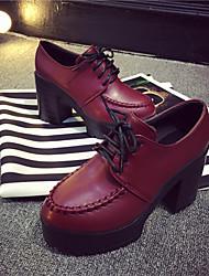 Keilabsatz - 6-9cm - Damenschuhe - Pumps/Heels ( PU , Schwarz/Rot )