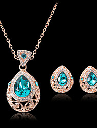 Lucky Doll Women's Vintage Crystal Rose Gold Plated Zirconia Water Drop Necklace & Earrings Jewelry Sets