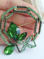 2.17 Inch Gold-tone Green Rhinestone Crystal Spiderweb Flower Brooch Pendant Art Decorations
