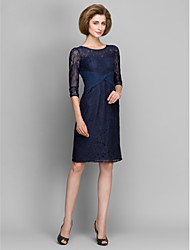 Lanting Sheath/Column Mother of the Bride Dress - Dark Navy Knee-length 3/4 Length Sleeve Lace