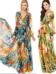 WERT      Women's Print Multi-color Dresses , Casual / Print V-Neck Long Sleeve plus size