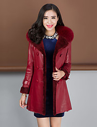 Women's Fashion Casual Raccoon/Wool Fur Spliced Genuine/Real Sheepskin Leather Jacket/Coat
