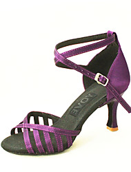 Customizable Women's Dance Shoes Satin Satin Latin / Salsa Sandals Customized Heel Indoor Black / Blue / Yellow / Purple / Red