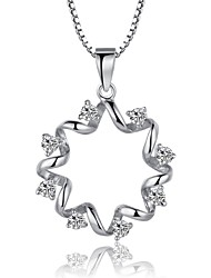 Korean Fine Jewelry Cute/Party/Work/Casual Sterling Silver Pendant Necklace Flowers Cz Statement Necklace for Women