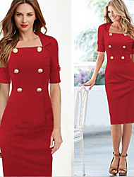 Women's Patchwork Red / Black Dresses , Bodycon Square ½ Length Sleeve