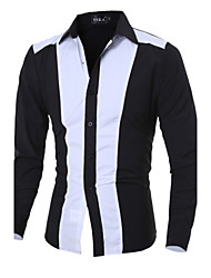 Men's casual long-sleeved shirt Slim spell color shirt Cotton / Polyester Casual / Sport Color Block