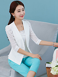 Women's Solid Color White / Black Plus Size Coats & Jackets , Casual V-Neck ¾ Sleeve