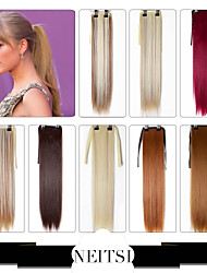 Neitsi Fashion New Synthetic Ombre Hair Ponytail Extension 22inch Colorful Synthetic Clip In Ponytail Straight Hairpiece