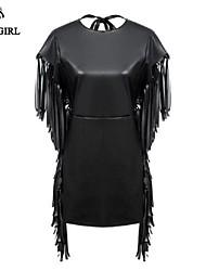 profondo v collo sexy nappe in pelle pu moda vestito di livagirl®women vestito stile euroep vestito di cuoio casuale del tutto-fiammifero