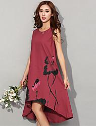Women's Round Dresses , Linen Vintage/Sexy/Bodycon/Print/Party/Work Sleeveless M.Dama