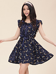Women's Cute Print Elastic Waist Sleeveless Dress with Bowknow