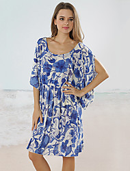 Women's Round Flower Dresses , Viscose Beach/Print Short Sleeve RIVA