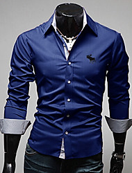 Men's Casual Shirts , Cotton Blend Long Sleeve Casual YYZ