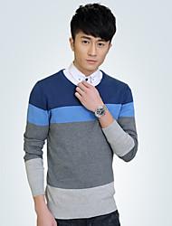 Men's Round Collar Stripe Cotton Long Sleeve Sweaters