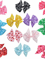 12 Pcs Classice Bow Grosgrain Printing Ribbon Mix Color Hair Bows Hair Clips Hairbows Accessories Party Favos AC018