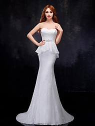 Trumpet/Mermaid Wedding Dress - White Sweep/Brush Train Sweetheart Organza