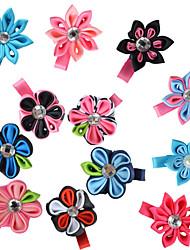 12 Pcs Kanzashi Grosgrain Ribbon Pointed Round Petals Mix Color Hair Bows Clips Hairbows Accessories Headwaear AC017